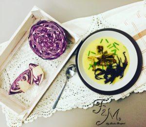 dieta detox, vellutata patate carciofi e cavolo viola