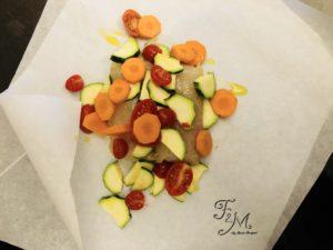 filetti di merluzzo con verdure crudi